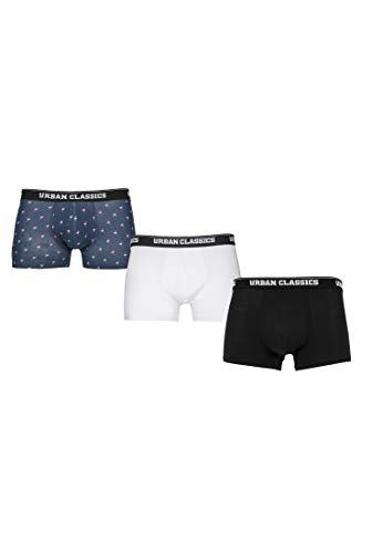 Urban Classics Herren Boxer Shorts 3-Pack Boxershorts, Flamingo AOP+wht+blk, M