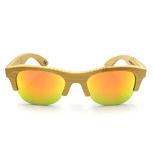 AMTSKR Unisex - Gafas de Medio Marco de bambú Vintage, Gafas de Sol para Viajes al Aire Libre Tonos De Moda (Color : Bamboo Frame-Orange)