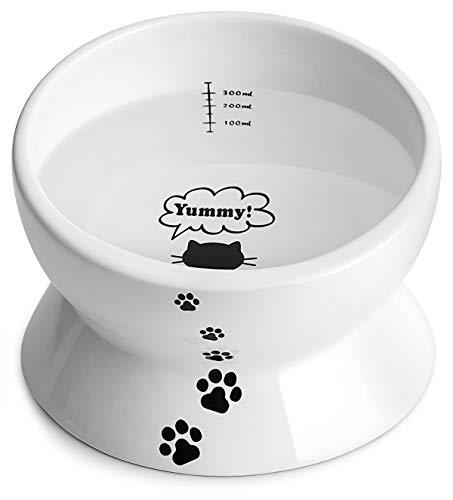 Y YHY Katzennapf Keramik 354ml, Futternapf Katze Schräg Keramik, Erhoehter Futternapf aus Porzellan mit Neigendem Design, Weiß
