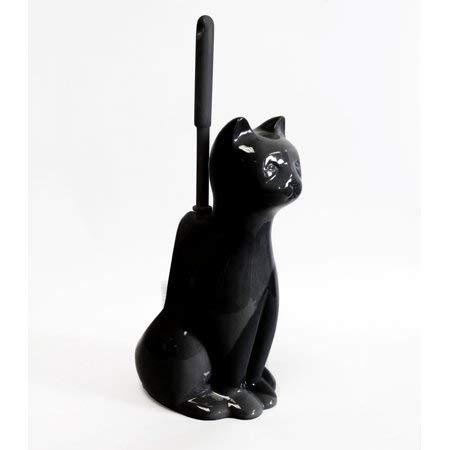 Splash Home Ceramic Cat Toilet Brush and Holder, Black