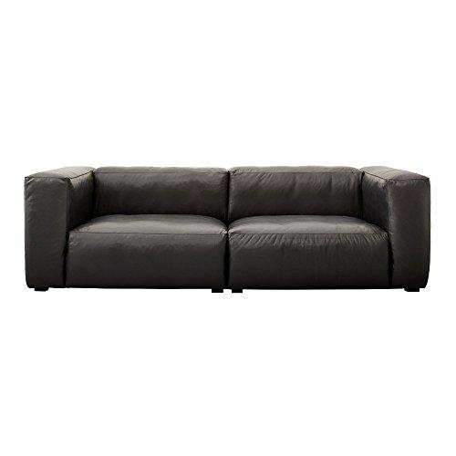 Hay Magswitch Soft Piel Sofá 228x 95.5X 67cm, Negro Patas Negro Soft Piel Silk sil0842Negra Sin Costuras Cojín
