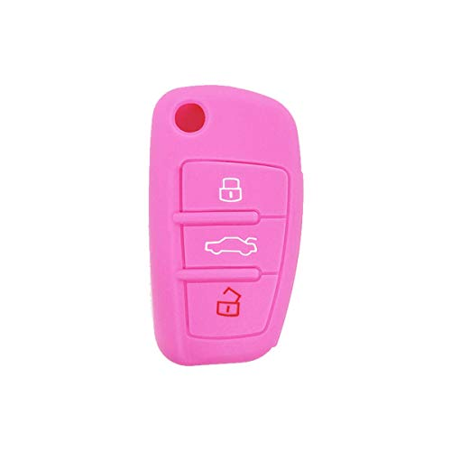 Coque de Silicone Cover clé pour télécommande Audi A1 A3 A4 A6 A8 TT Q5 Q7 R8 S4 S6-3 Boutons (Rose)