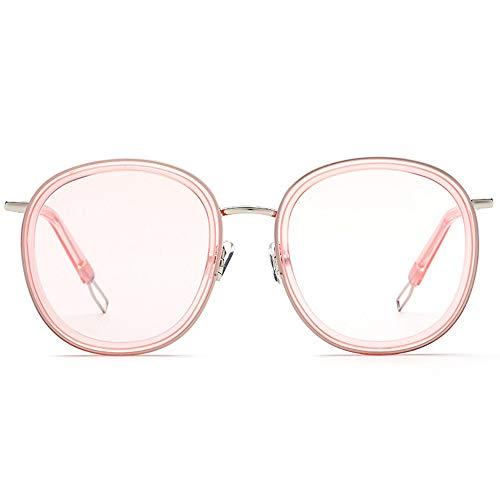 Zhhhk Gafas Redondas for Hombres Gafas De Sol Al Aire Libre con Montura Metálica for Mujer, Lente Rosada, Protección UV400