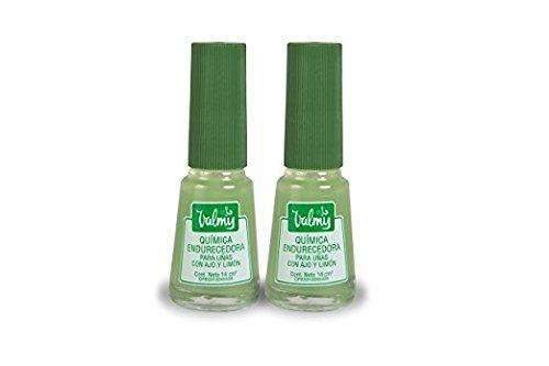 Valmy Endurecedor y Blanqueador de uñas con Ajo y Limón - 14 ml – Tratamiento fortalecedor para uñas sanas y fuertes - Pack of 2