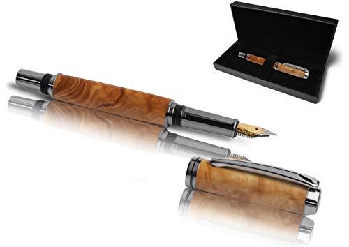 Handgefertigter Füllfederhalter aus Echtholz | Geschenkset mit Füller aus Holz & Etui | Exklusives Business Geschenk Set für Mitarbeiter und Kunden (Olivenholz)