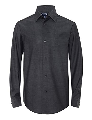 Chaps Boys' Big Long Sleeve Dress Shirt, Iridescent Grey, 18-20