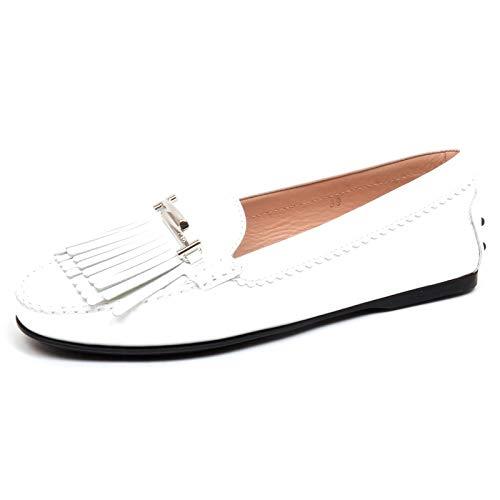 Tod's F3304 Mocassino Donna White Scarpe patent Loafer Shoe Woman [37.5]