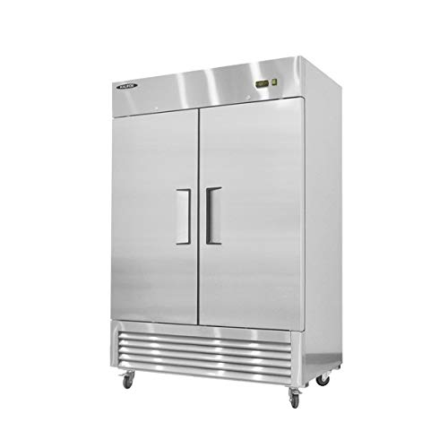 kalifon Commercial Reach-in Refrigerator Solid 2 Section Stainless Steel Refrigerator with LED...