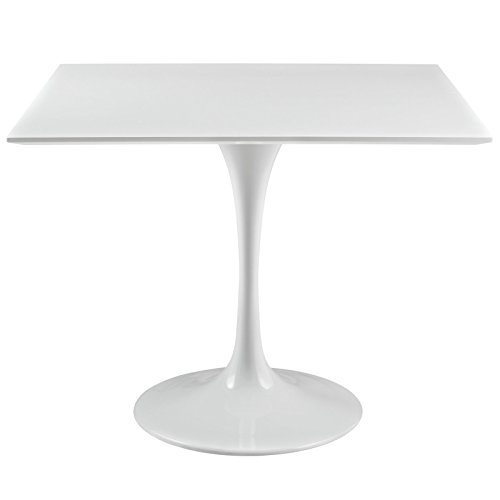 """Modway Lippa 36"""" Mid-Century Modern Dining Table with Square Top and Pedestal Base in White"""