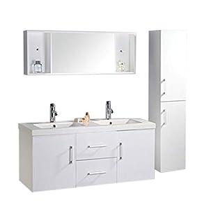 Muebles para baño Modelo White Malibu 120 cm para cuarto de baño con espejo baño grifos incluido mueble + 2 espejos…