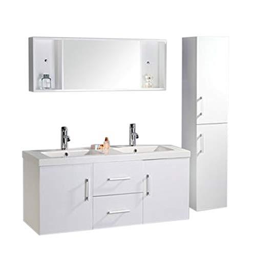 Muebles para baño Modelo White Malibu 120 cm para cuarto de baño con espejo baño grifos incluido mueble + 2 espejos + repisas + grifería + fregaderos