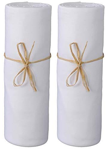 P'tit Basile - Lot x 2 Draps Housse bébé jerseys en coton Bio - 60x120 cm - blanc - Coton peigné de qualité supérieure - Elastique tout autour et bonnets aux 4 coins