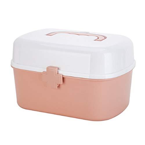 Glossia Haushalts Medizinbox Gro?e Medizin Box Kunststoff Aufbewahrungs Box mit Griff Aufbewahrungs Medizinbox Rosa