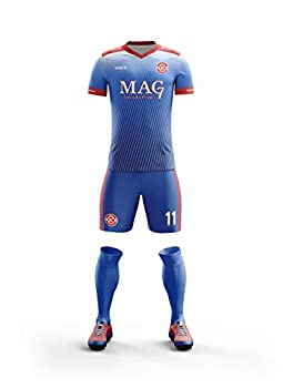 ORKY Custom Soccer Jersey with Short Men Kids Personalized Name Number Logo Shirt Football Team Uniform Water Kylin Blue 120cm