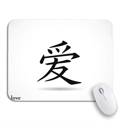 PONIKUCY Gaming und Office Mauspad,Japanisches chinesisches Symbol Liebeswort Tattoo Kanji Letter Tribal,rutschfester Unterseite