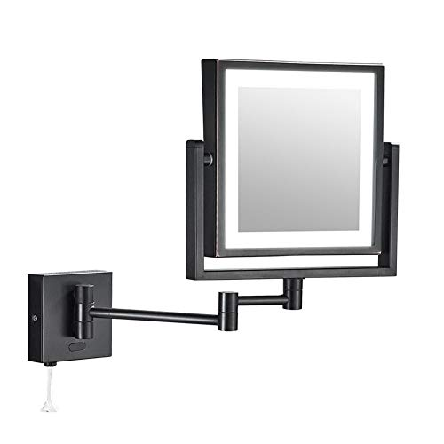 Zidao Makeup Mirror with Light Cosmetic Mirror with LED Lighting and 1X / 3X Magnification 360° Swivel Function USB Cable for Bathroom, Cosmetic Studio, Spa and Hotel Square,Schwarz