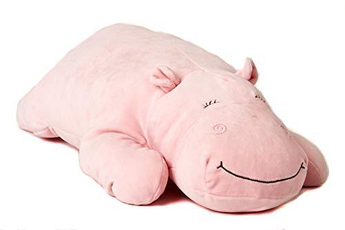 Uni-Toys - Kissen Plüsch-Nilpferd (rosa), ultraweich - 60 cm (Länge) - Plüschtier, Kuscheltier