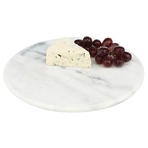 mDesign Plato redondo para servir – Base de marmol grande para cocina, comedor, bano o dormitorio – Bandeja para tartas, salchichas y queso o para el desayuno – gris marmol