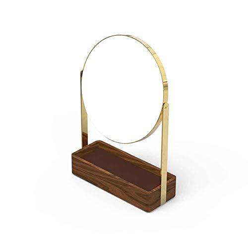Duofenlh Miroir de maquillage circulaire en bois double face, grande base de rangement, miroirs de table, loupe réglable à 360 °