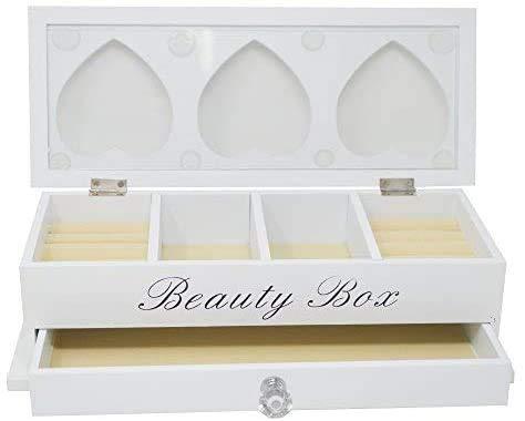 DRULINE Schmuckkasten Schmuckbox Beauty Box zur Aufbewahrung aus Holz mit 2 Ebenen und Schublade für Halsketten Armbänder und Ringe Geschenkidee | L x B x H 30 x 12 x 8.5 cm cm | Weiß