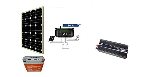 Kit Fotovoltaico Pwm Inverter 2000W Pannello Solare 50W BATTERIA 38 Ah