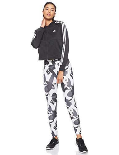 adidas Women Tracksuit Hoodyand Tight, Tuta Donna, Nero/Multicolor/Raw Bianco, M 44-46