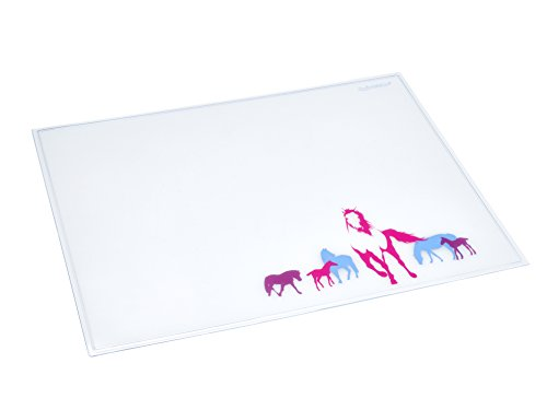 Läufer 43616 Durella Emotion Schreibtischunterlage Motiv Pferde, 40x53 cm, glasklar transparente Schreibunterlage mit Motiv