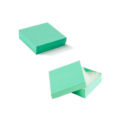 16 Pack Cotton Filled Teal Blue Color Jewelry Gift and Retail Boxes 3 X 3 X 1 Inch Size by R J Displays