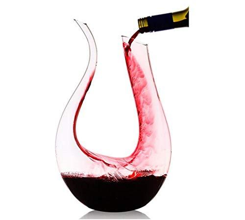 HALAWAKA Decanter per Vino - Caraffa per Vino in Vetro Cristallo a Forma di U Senza Piombo al 100% Caraffa per Decanter per Vino Rosso soffiato a Mano