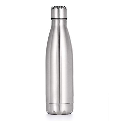 Piaozoo Trinkflasche Edelstahl Thermosflaschen 500ml Vakuum Isolierte Wasserflasche BPA-frei, Auslaufsicher, Kohlensäure geeignet, Sport Flasche für Sport, Outdoor, Büro, Schule