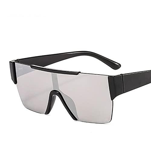 HAIGAFEW Gafas De Sol Rectangulares para Hombre Gafas con Revestimiento De Espejo Gafas De Sol Protección UV para Hombres Y Mujeres Proteger Los Ojos-Plata Negra