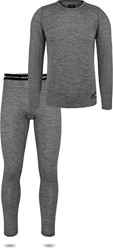 normani Herren Merino Unterwäsche-Set Garnitur (Unterhemd und Unterhose) 100% Merinowolle Thermounterwäsche Ski-Funktionsunterwäsche Farbe Grau Größe XXL/56