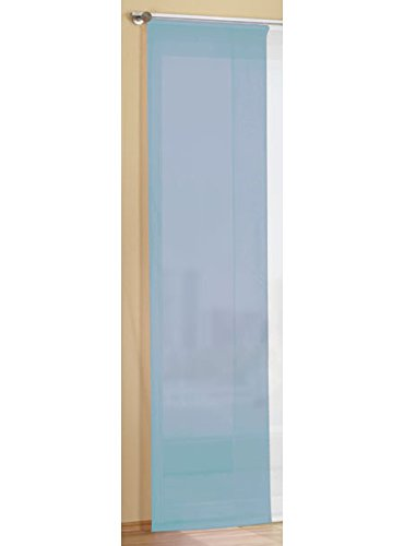 Gardinenbox Flächenvorhang Schiebegardine Voile Uni transparent mit Paneelwagen und Beschwerungsstange, 245x45, Blau, 80600