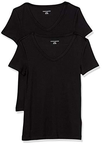 Amazon Essentials Damen fashion-t-shirts 2-pack Slim-fit Short-sleeve V-neck T-shirt, schwarz / schwarz, Medium (38-40)