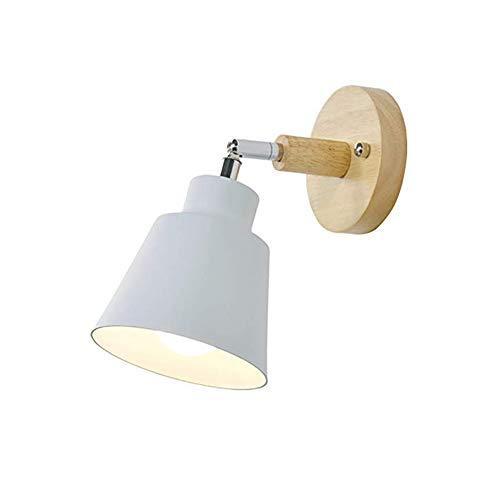 Tiamu Lámpara de pared de madera para mesita de noche, dormitorio, habitación, lámpara de pared para la cocina, lámpara de pared moderna, lámpara nórdica, lámpara de pared (blanco)