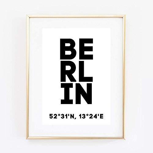 Din A4 Kunstdruck ungerahmt - Berlin Koordinaten Typographie Stadt City Modern Druck Poster Bild