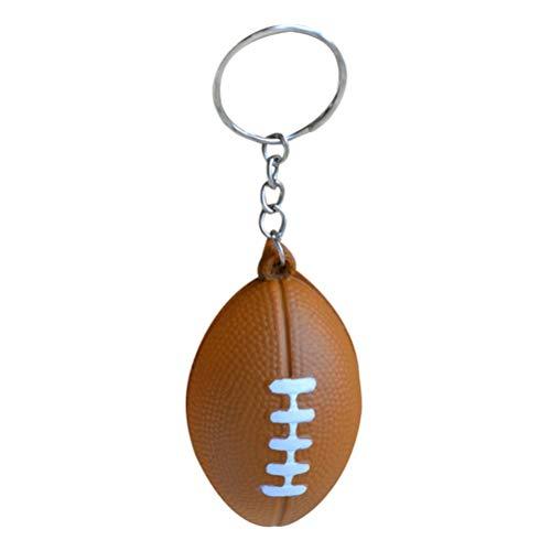 BESTOYARD American Football Schlüsselanhänger Schlüsselanhänger Handtaschen Halter Rugby PU Schlüsselanhänger Souvenir Anhänger Geburtstagsgeschenk 6 STÜCKE (Braun)