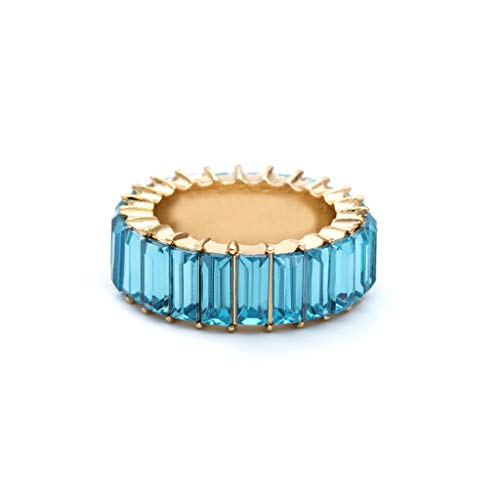 holilest Ring, 8 Colors Rainbow Crystals Ring Cubic Zirconia Baguette Band Ring Stackable Women-Blue