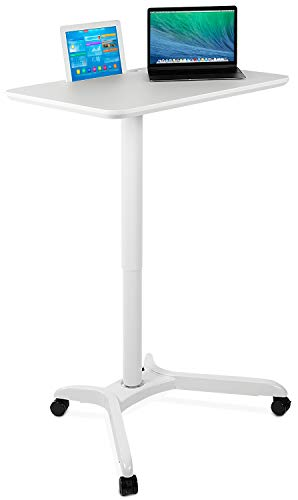 Mount-It! Standing Mobile Laptop Cart, Sit Stand Rolling Desk with Height Adjustable 31.1' x 20.5' Platform, Supports up to 17.6 lbs, White