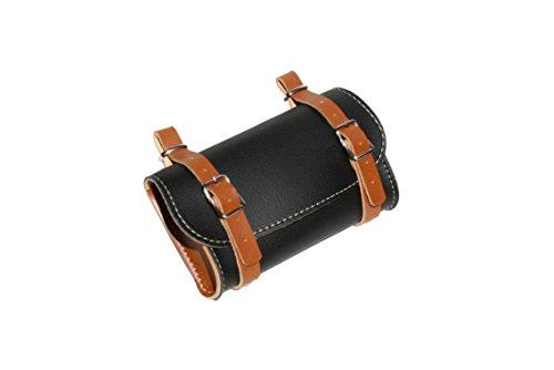 KTbike.it Achterzadel Fietstas. Fiets pannier. Fietsenstalling. Vintage stijl. Simil Leder. Kleur zwart/honing. Gemaakt in Italië (VIN_3 Eco_N/H)
