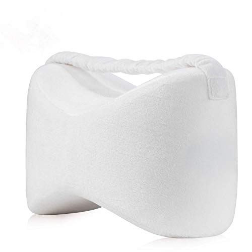 ADEPTNA Comfort Therapy Knee Pillows Memory Foam Leg Pillow with Elastic Strap for Side Sleepers Sciatica Pain Relief Back Leg Pain Knee Pain Pregnancy Hip and Joint Pain – with Washable Cover