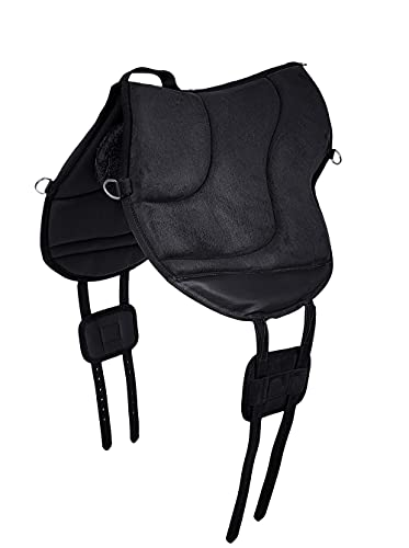 A&M Reitsport Reitpad, Bareback Pad mit Klettkissen, baumloser Sattel 1060, Neu, Farbe:Schwarz