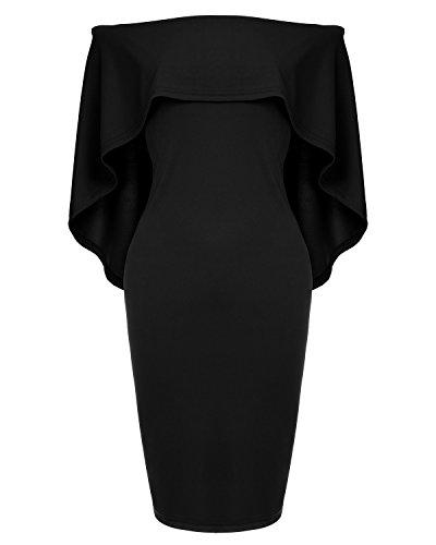 Womens Off The Shoulder Cocktail Party Dress Batwing Cape Midi Wrap Dress Black
