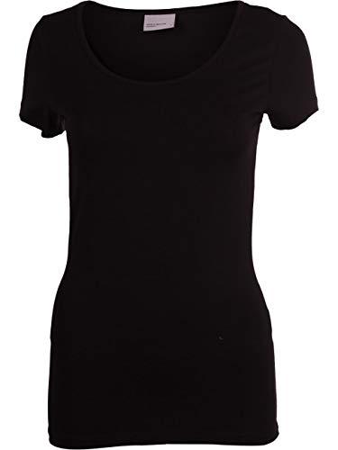 Vero Moda VMMAXI MY SS Soft U-Neck Noos Camiseta, Color Negro, L para Mujer