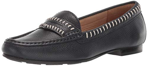Driver Club USA Womens  Genuine Leather Made in Brazil Maple Ave Loafer, Navy Grainy, 6 M US