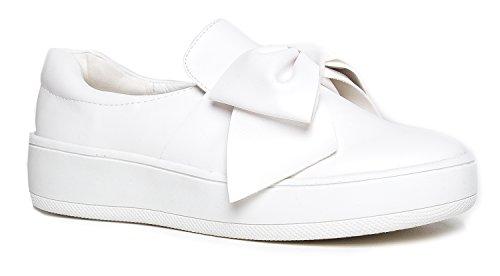 J. Adams Bow Platform Slip Ons – Trendy Flatform Shoes - Comfortable Closed Toe Sneakers – Wally