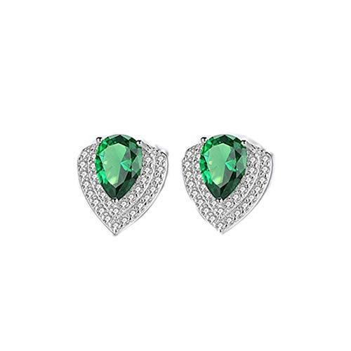Beydodo Pendientes de Plata Mujer 925,Pendientes de Mujer Verde Gota de Agua con Circonita Verde