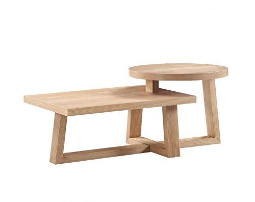 SalesFever® Couchtisch Stehen, eichenfarben, furniert, massive Eichen-Füße, 120 x 47 cm, trendiger & robuster Wohnzimmer-Tisch, pflegeleichte Oberfläche