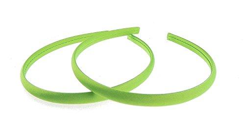 Haarband, voor meisjes, 1 cm, satijn, 2 stuks. Eén maat lime