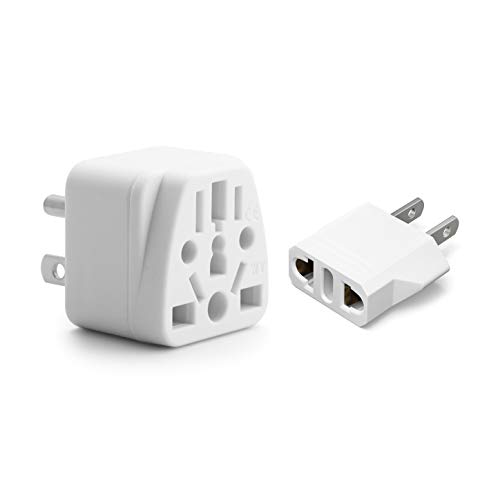 Europe to US Plug Adapter EU/UK/AU/in/CN/JP/Asia/Italy/Brazil to USA (Type A & B) American Travel Adapter and Converter, Wall Outlet Power Charger Converter (White)
